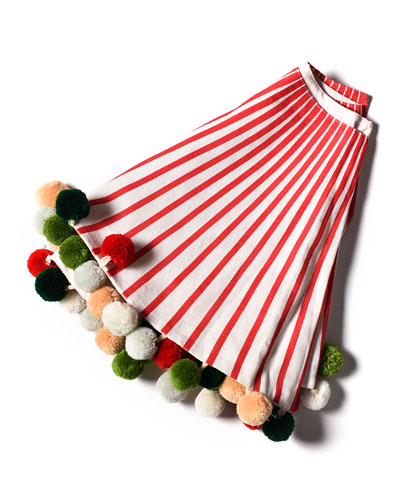 Red Stripe Tree Skirt with Pompoms