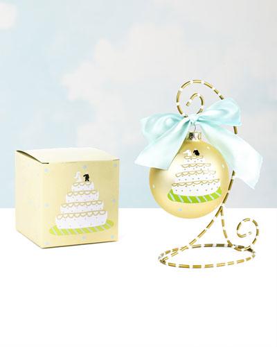 Wedding Cake Glass Ornament  Personalized