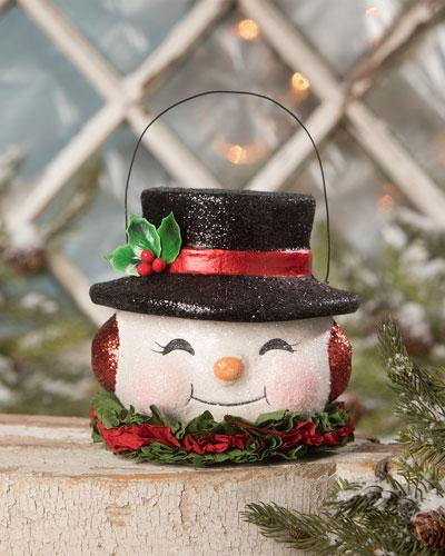 Happy Retro Snowman Bucket  Medium