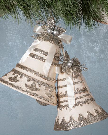 Paper Mache Silver Bells, Set of 2