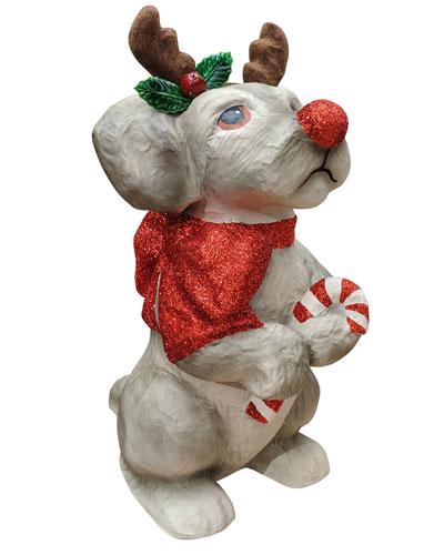 Paper Mache Reindeer Pup Decoration