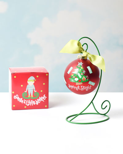 Merry & Bright Vintage Tree Ornament  Personalized