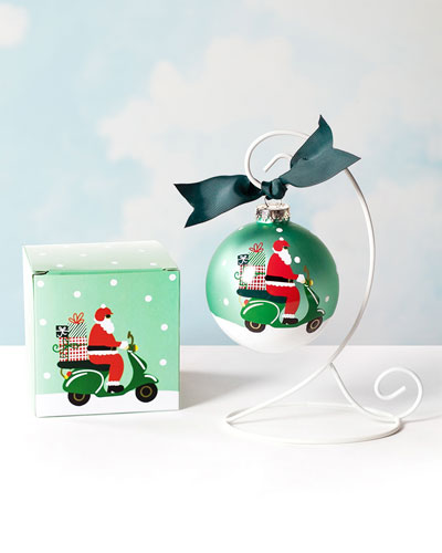 Here Comes Santa Claus Glass Ornament  Personalized