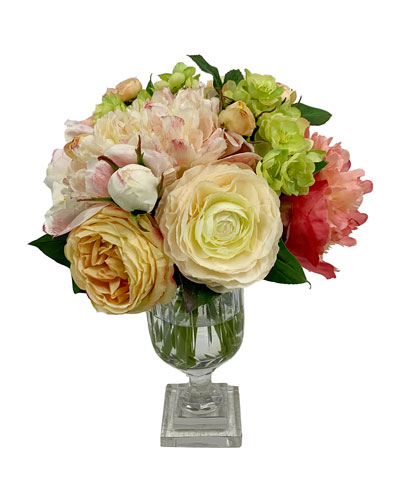 Peony Rose Arrangement in Cut Vase