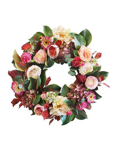 Rose Dahlia Zinnia Wreath