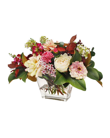 Rose Dahlia Zinnia Arrangement in Rectangle Vase