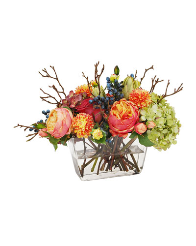 Mix Fall Hydrangea & Rose in Flair Vase