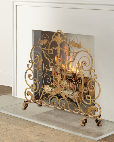 Italian Gold Single Panel Fire Screen