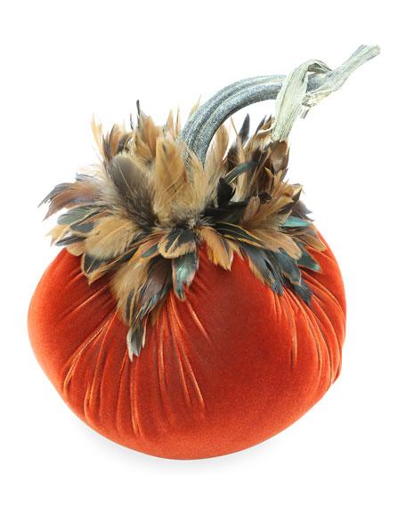 Jumbo Junior Velvet Pumpkin with Natural Stem & Feathers