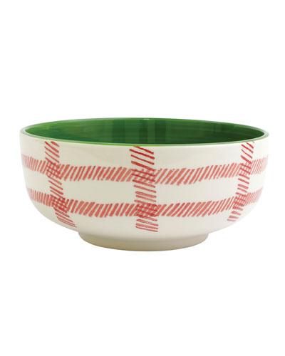 Mistletoe Plaid Large Footed Serving Bowl