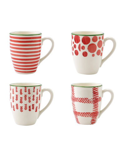 Mistletoe Assorted Mugs  Set of 4