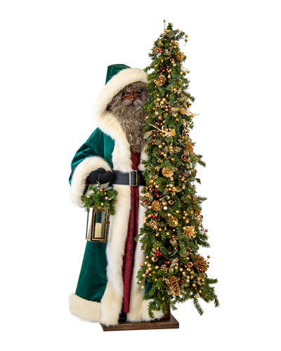 Malachite Christmas Black Santa with Lighted Tree  57