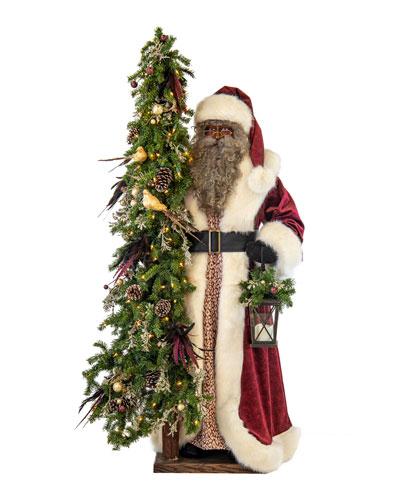 Plum Wine Holiday Black Santa with Lighted Christmas Tree  57