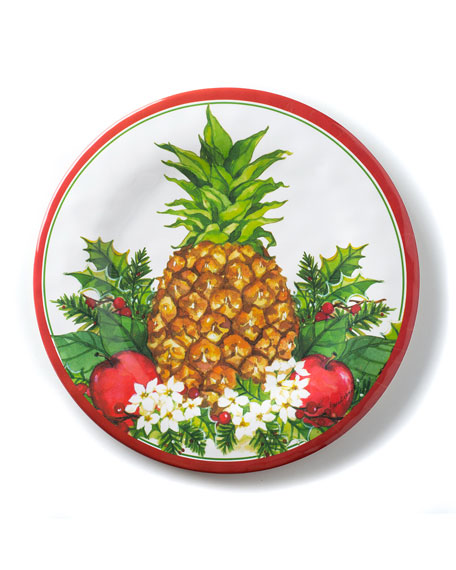 Christmas Pineapple Salad Plates, Set of 4