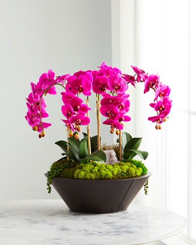 Orchids & Geode in Round Metal Container