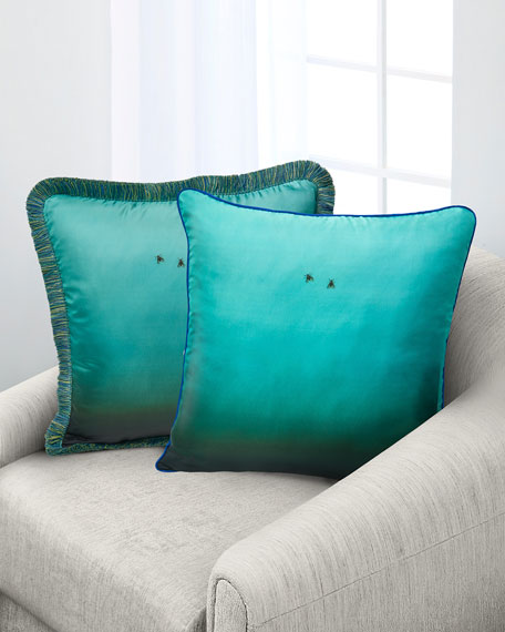 Fly On The Wall Turquoise Silk Pillow