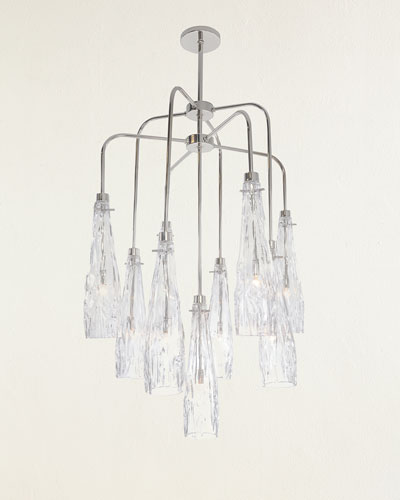 Nine-Light Art Glass Chandelier