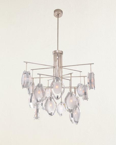 Faceted Glass 18-Light Chandelier