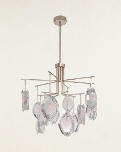 Faceted Glass 12-Light Chandelier