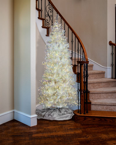 7.5' White Iridescent Tree with LED Lights