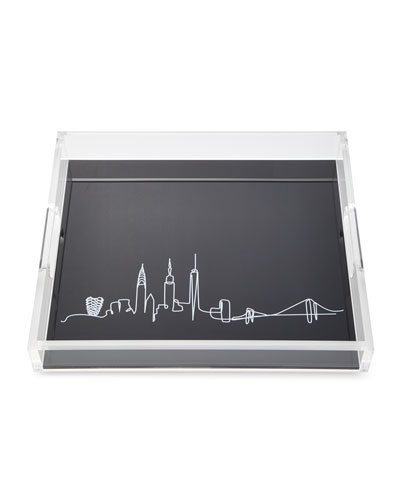 Line Drawing Skyline Large Tray