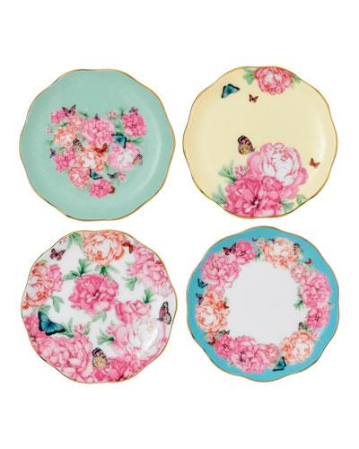 Mixed Pattern Tidbit Plates  Set of 4