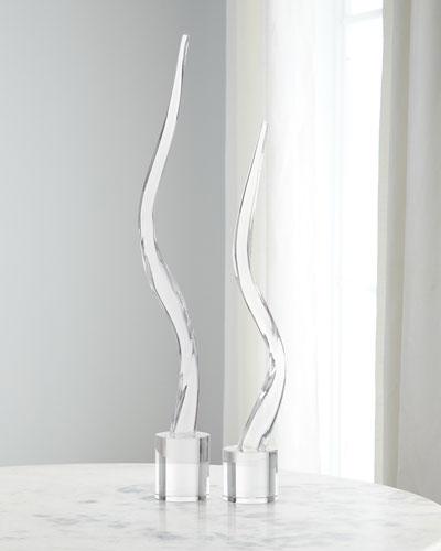 Glass Wave Sculptures  Set of 2