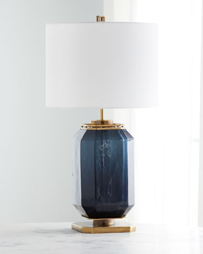 Navy Blue Glass and Brass Table Lamp
