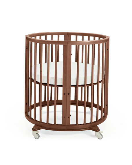 Sleepi Mini Baby Crib Bundle, Walnut Brown
