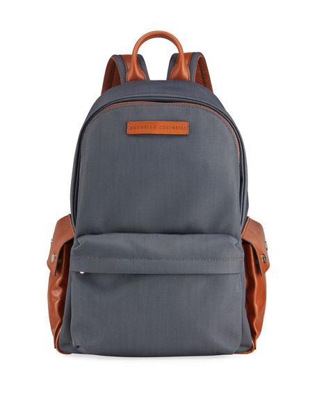 Brunello Cucinelli Men's Medium Nylon/Leather Backpack