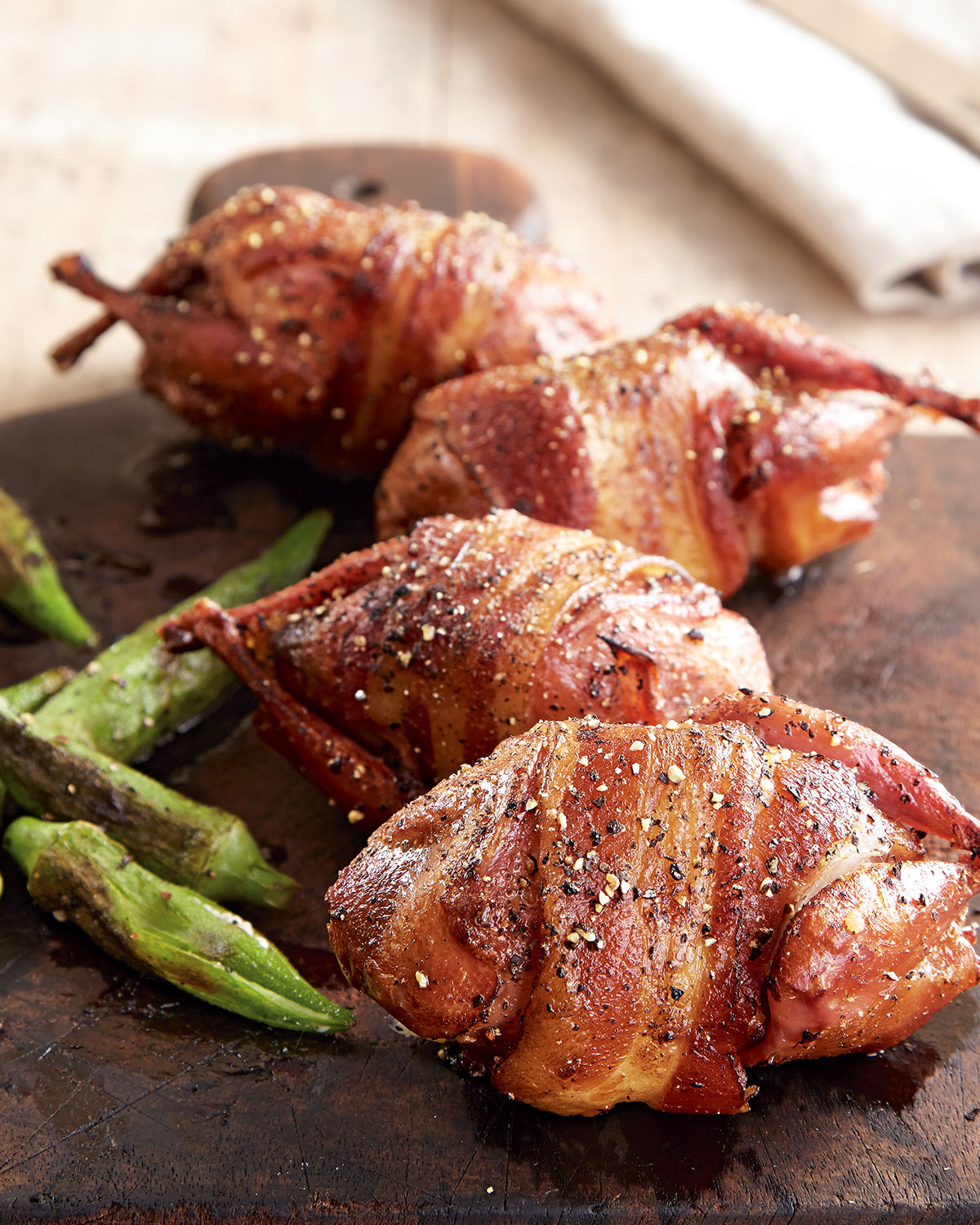 Bacon Wrapped Stuffed Quail For 8 People