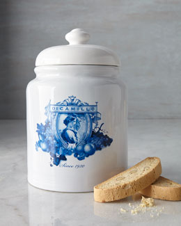 Blue & White Porcelain Biscotti Jar
