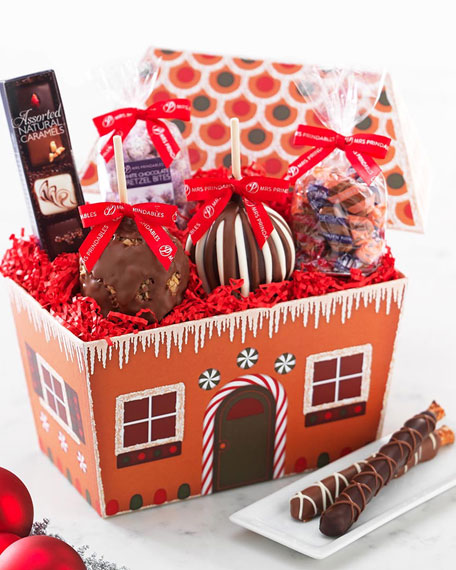 Gingerbread House with Caramel Apples and Confections