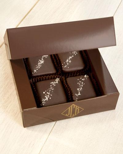 4-Piece Dark Chocolate With French Grey Sea Salt Truffle Fudge Bites