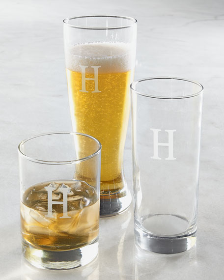 Monogrammed Pilsner Glasses, Set of 4