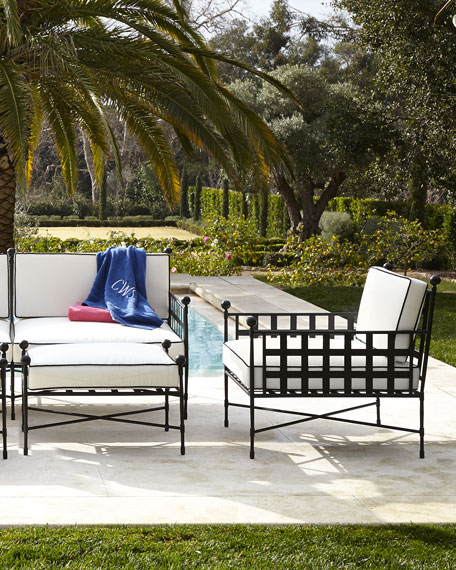 Avery Neoclassical Outdoor Ottoman