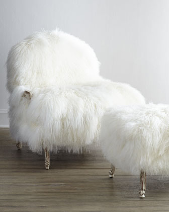 Worthen Sheepskin Chair & Ottoman