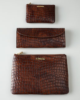 Brown Croc-Shell Travel Accessories