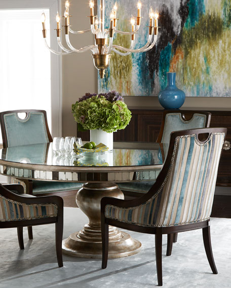 Lisandra Antiqued Mirrored Round Dining Table