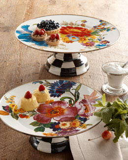 MacKenzie-Childs Flower Market Pedestal Platters