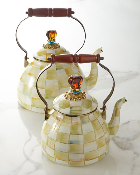 Mackenzie Childs Parchment Check Tea Kettle