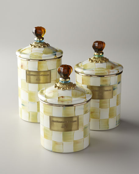 Medium Parchment Check Canister