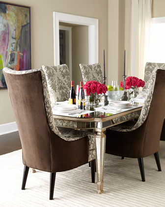 John Richard Collection Eliza Mirrored Dining Table Mentz Host Chair