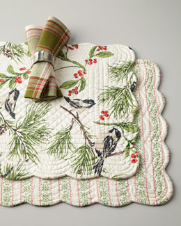 Chickadee Placemats & Plaid Napkins