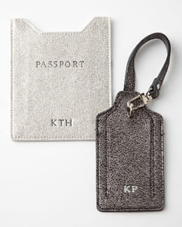 Abas Glitter-Leather Luggage Tag & Passport Sleeve