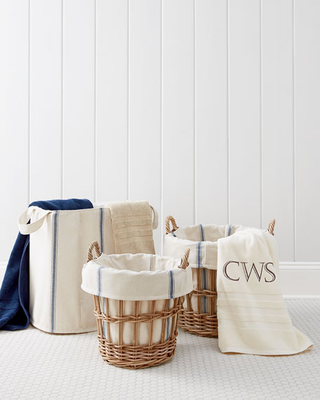 Small Wicker Laundry Basket with Bryn Liner