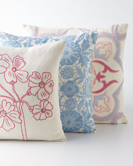 Sabira Embroidered Linen Pillows