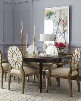 John-Richard Collection Allerton Dining Table & Lela Eglomise Dining Chairs