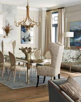 Massoud Eliza Dining Mirrored Dining Table, Balustrade Settee, & Melissa Dining Chair