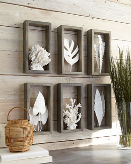 Coral & Leaf Shadowbox Sculptures